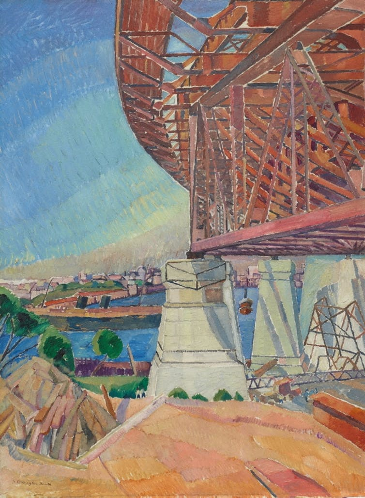 A bright painting of the Sydney Harbour Bridge