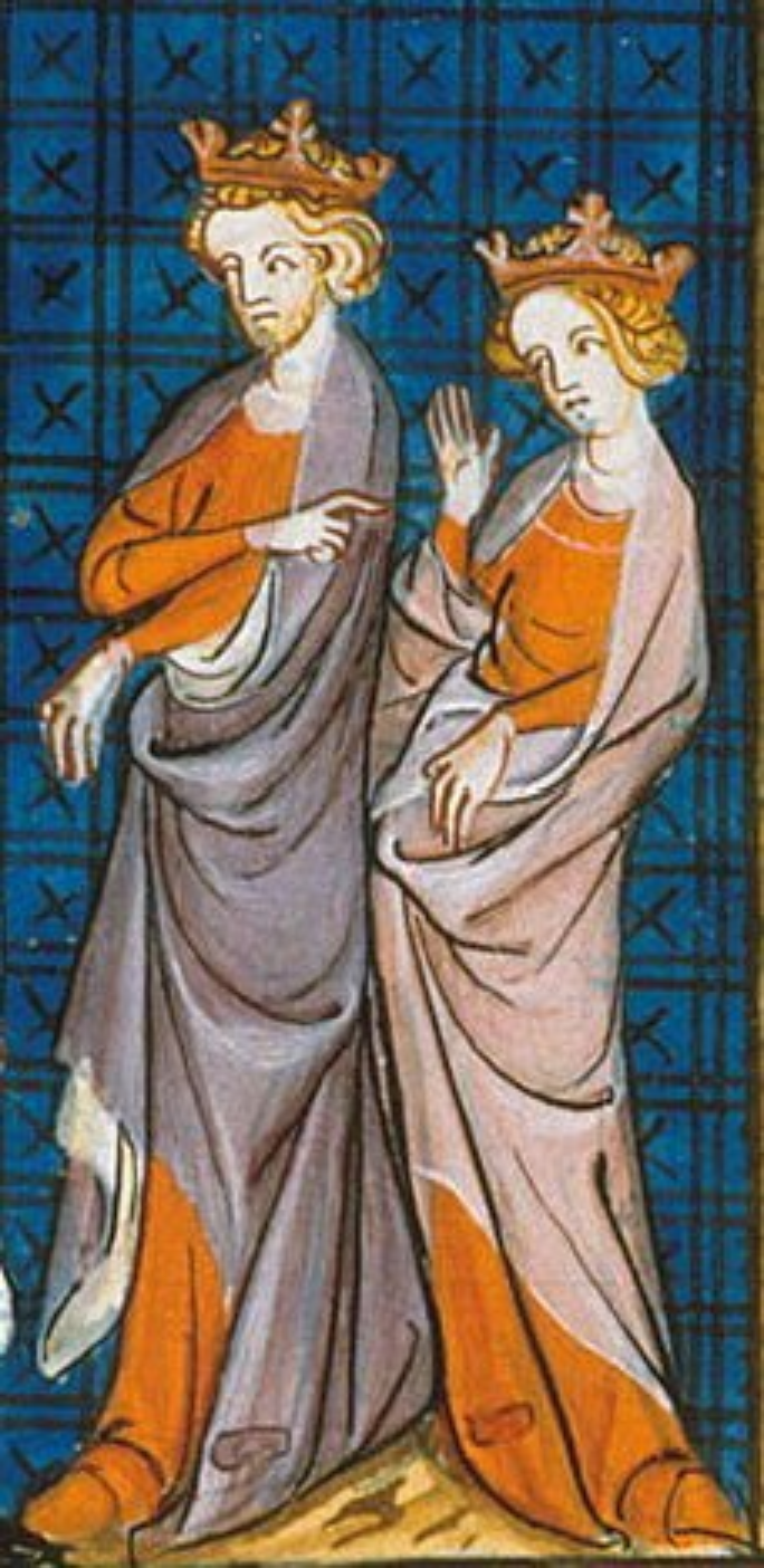 Representación de Enrique II y Leonor de Aquitania en un manuscrito iluminado del siglo XIV. Wikimedia Commons