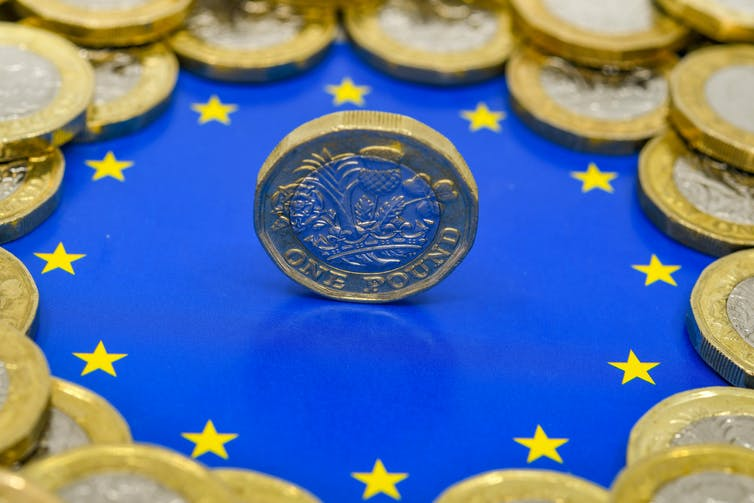 Close up view of British currency GBP - One Pound coin balancing on its edge in the centre of the logo of the European Union.