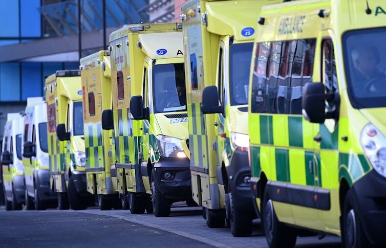 Ambulances queuing outside a London hospital
