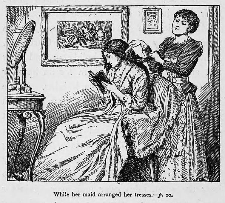 Victorian illustration showing a maid arranging a lady's hair