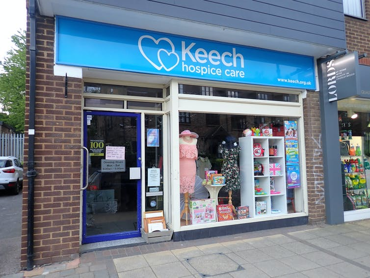 Keech charity shop front on street