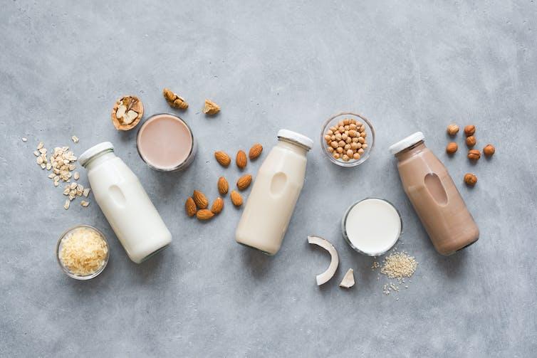Plant-based milks, including almond, hazelnut, and coconut.