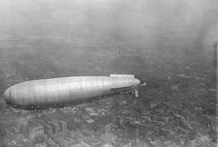 The Italian airship Roma flies over Norfolk, Virginia.