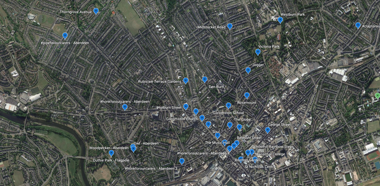 Google map of Aberdeen showing where sounds were recorded around the city.