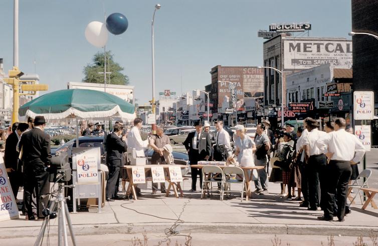 Mass polio vaccination in Columbus, US, circa 1961.