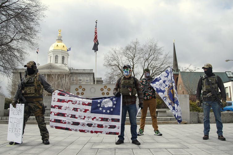Armed protesters at the New Hampshire Statehouse Jan. 17, 2021