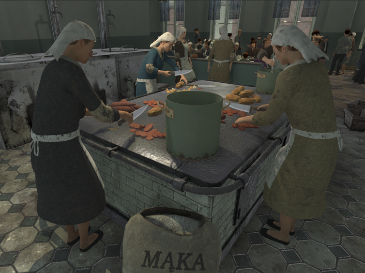 3D models of women make food in a soup kitchen.