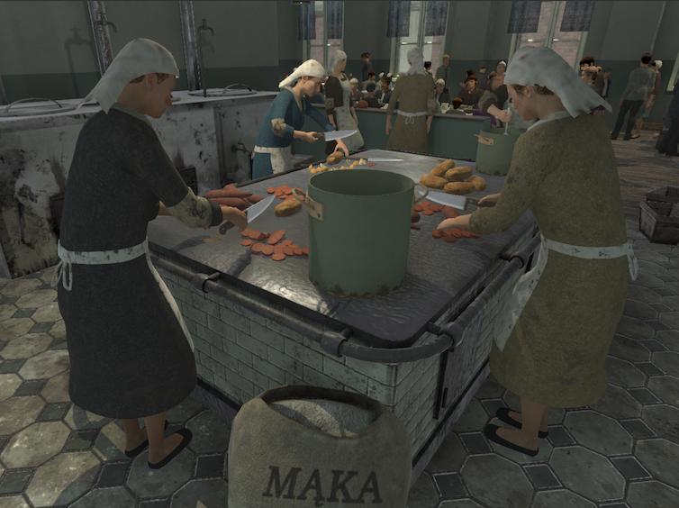 3D models of women make food in a soup kitchen.