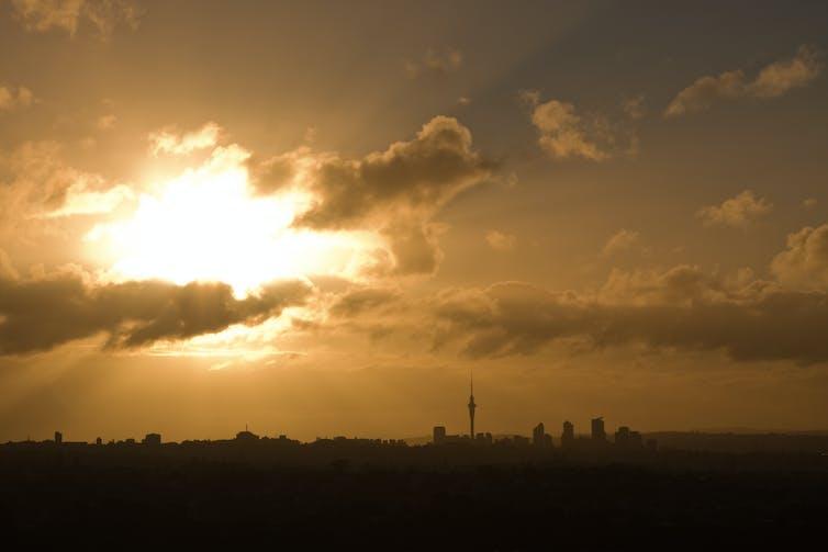 A sunny landscape of Auckland's skyline.