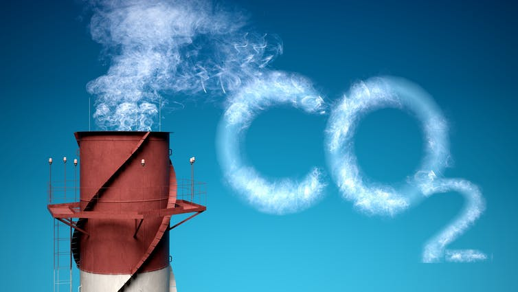 Smoke stack with CO2 written in smoke