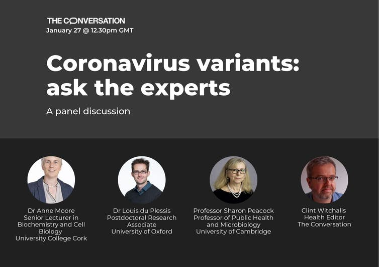 Banner promoting a webinar on the new coronavirus variants taking place on January 27 at 12.30pm GMT.