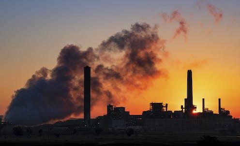 A power plant at dusk.