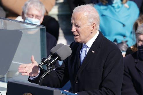 Joe Biden delivering his inaugural address.
