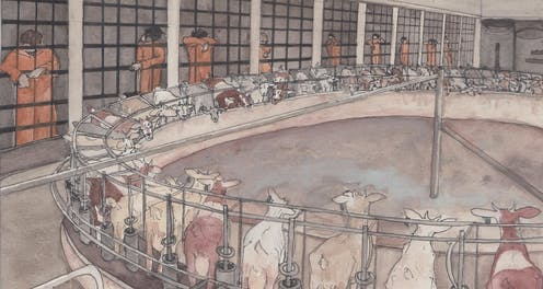 A watercolour of goats in prison surrounded by inmates in orange prison jumpers behind bars.