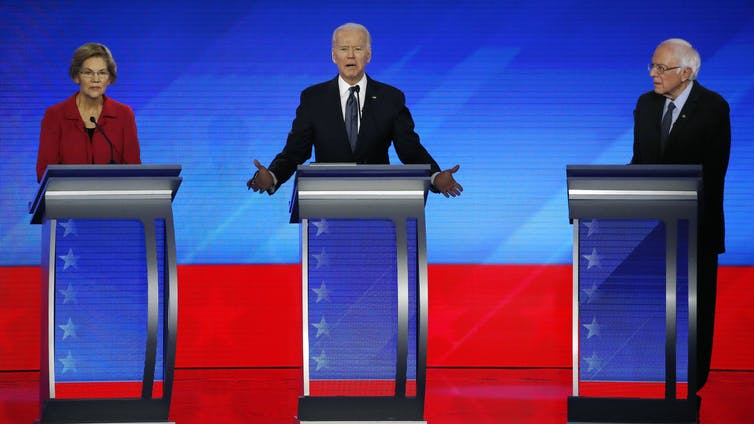 Elizabeth Warren, Joe Biden and Bernie Sanders in the Democratic Party presidential primary debate held on February 7 2020.