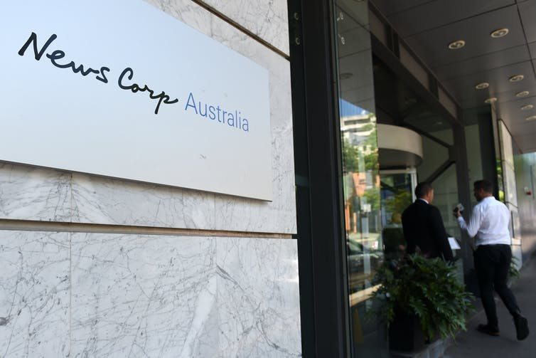 News Corp logo outside offices.