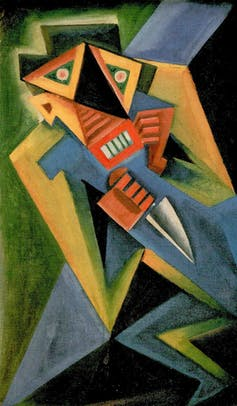 Blue, yellow, black, green cubist painting.