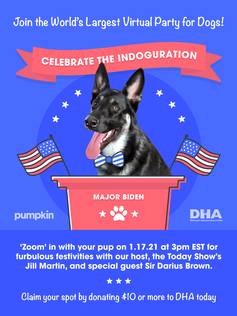 A virtual poster saying 'Join the world's largest party for dogs. Celebrate the Indoguration!' In the center is a photo of a German Shepard.