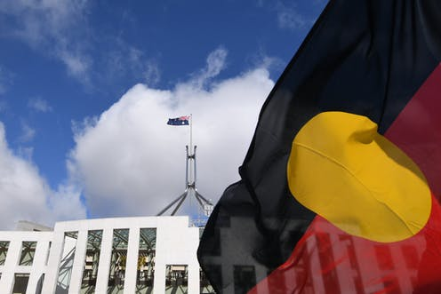 The Aboriginal flag flies in front of Federal Parliament