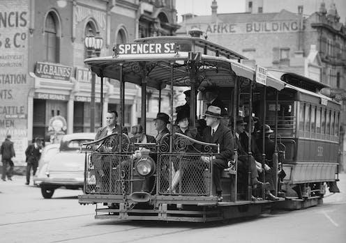 Office workers on tram in 1940