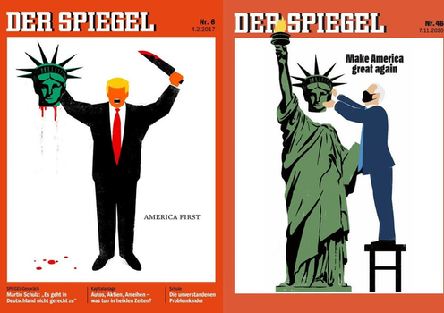Covers of German news magazine, Der Spiegel, showing Trump's inaurugation in 2017 and Biden's in 2021.