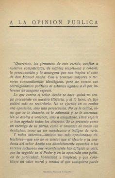 Primera página del manifiesto en defensa de Manuel Azaña cuya difusión fue prohibida por la censura en 1934 y que fue publicado al comienzo de la obra Mi rebelión en Barcelona, (Manuel Azaña, 1935). BNE