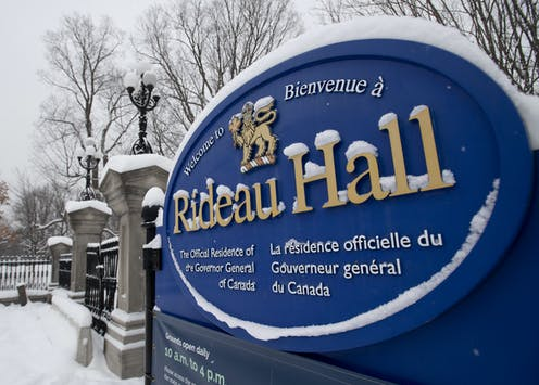 The sign to Rideau Hall in Ottawa is covered in a new dusting of snow