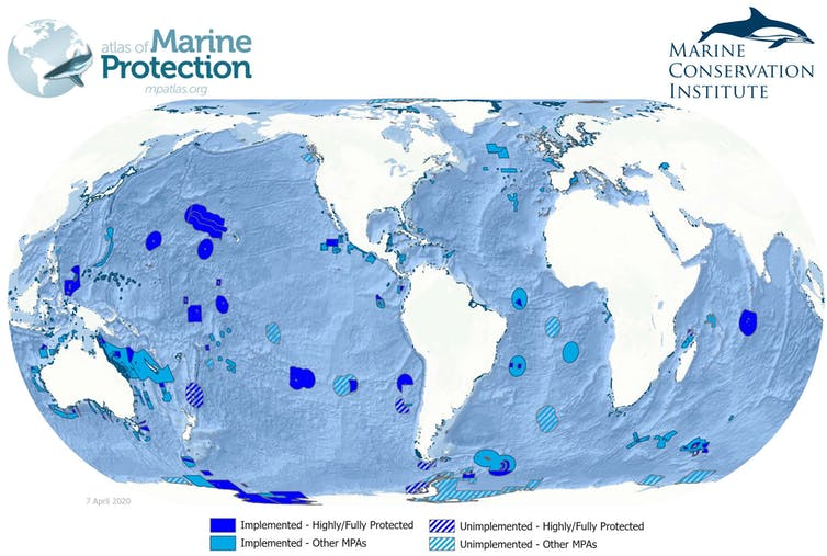 Map of global marine protected area coverage