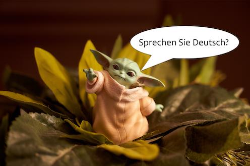 un baby yoda con un bocadillo de cómic en el que pregunta si habla alemán.
