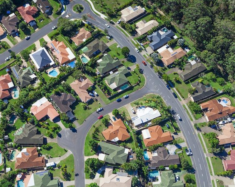 Aerial view of suburban Australian homes