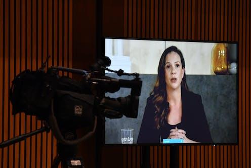 Google Australia Managing Director appears before Senate commitee on a video screen