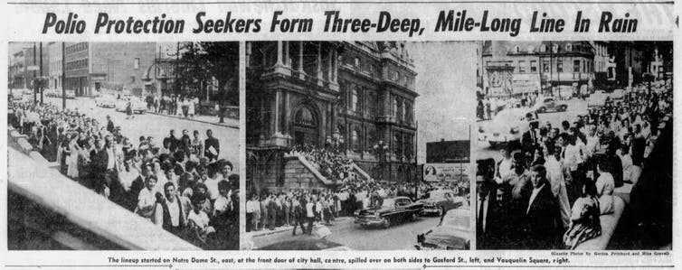 Three newspaper photos showing people lining up