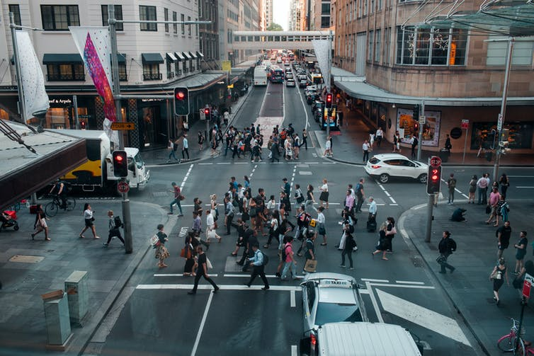 People crossing the street in Sydney