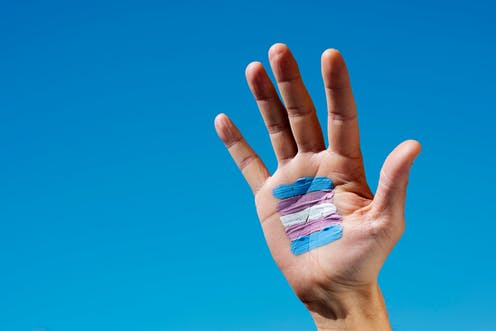 Mano sobre el cielo azul con la bandera trans (azul, rosa y blanco) pintada en la palma.