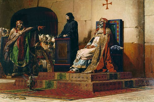 Painting of medieval ecclesiastical trial of Formosus, a corpse dressed in papal robes.