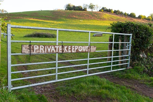 A gate in the countryside reads 'Private - keep out'.