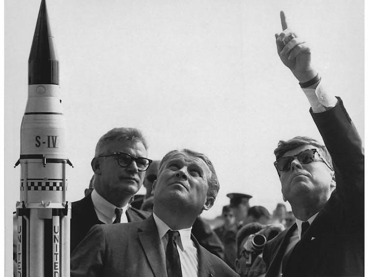 Model rocket with von Braun and JFK
