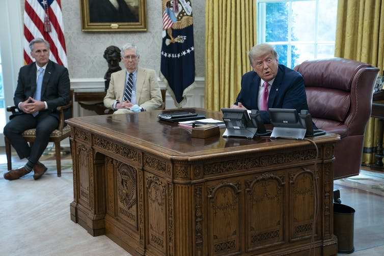 Kevin McCarthy, Mitch McConnell and Donald Trump in the Oval Office