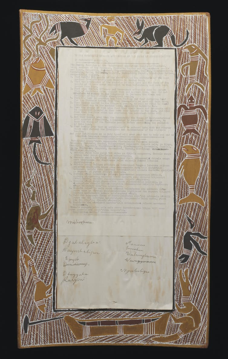 Indigenous art frames a written petition from 1963