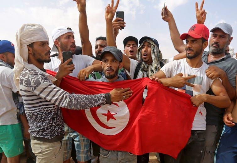 Des manifestants tunisiens.