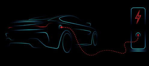 Concept drawing of electric car being charged