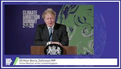 Perdana Menteri Inggris, Boris Johnson, menyampaikan pidato pembuka dalam pertemuan virtual _Climate Ambition Summit_ 2020