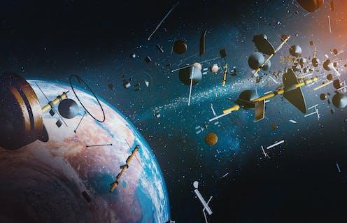 A rendering of space junk.