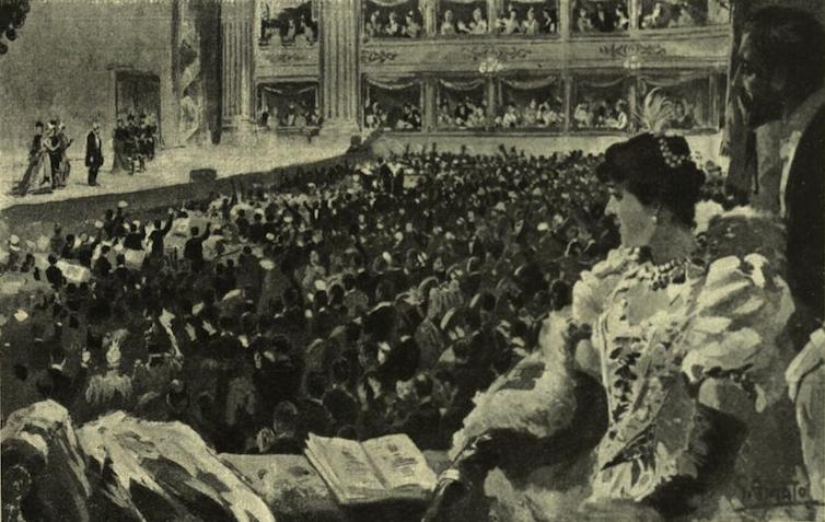 Aclamación al maestro Verdi tras una representación de Falstaff en el Teatro de la Scala. Biblioteca di Storia Moderna e Contemporanea de Italia