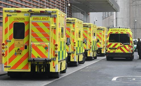 A queue of ambulances outside a London hospital.