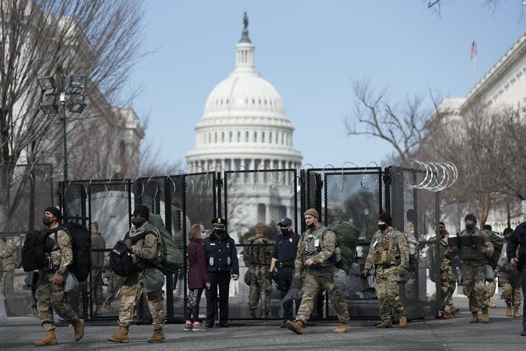 Troops in front of the U.S. Capitol.