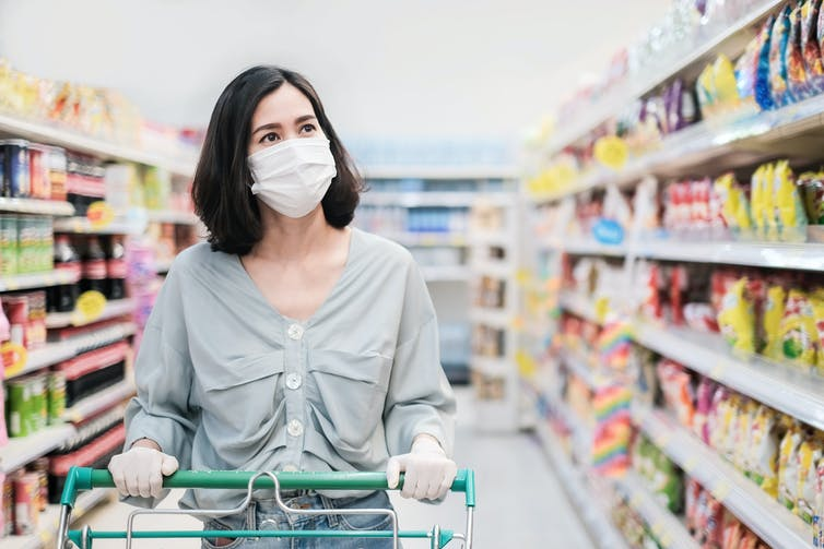 Women in supermarket wearing a facemask.