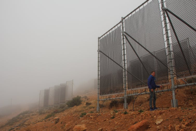 Large nets erected vertically on hillside covered in fog.
