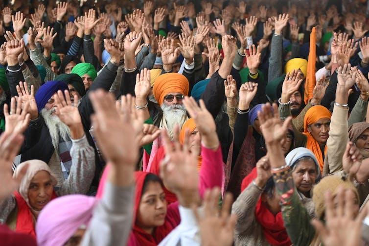 Des agriculteurs indiens lors d'une manifestation
